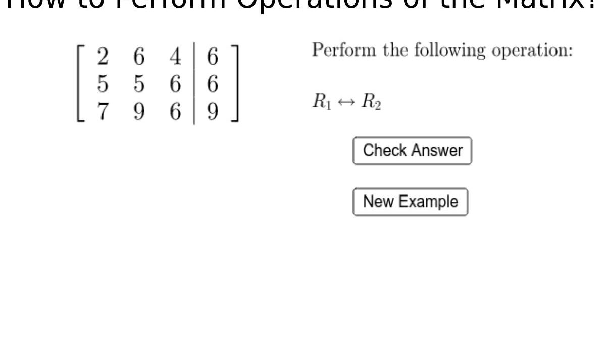 How to Perform Operations of the Matrix?