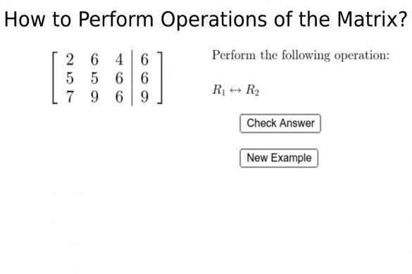 Perform Operations of the Matrix?